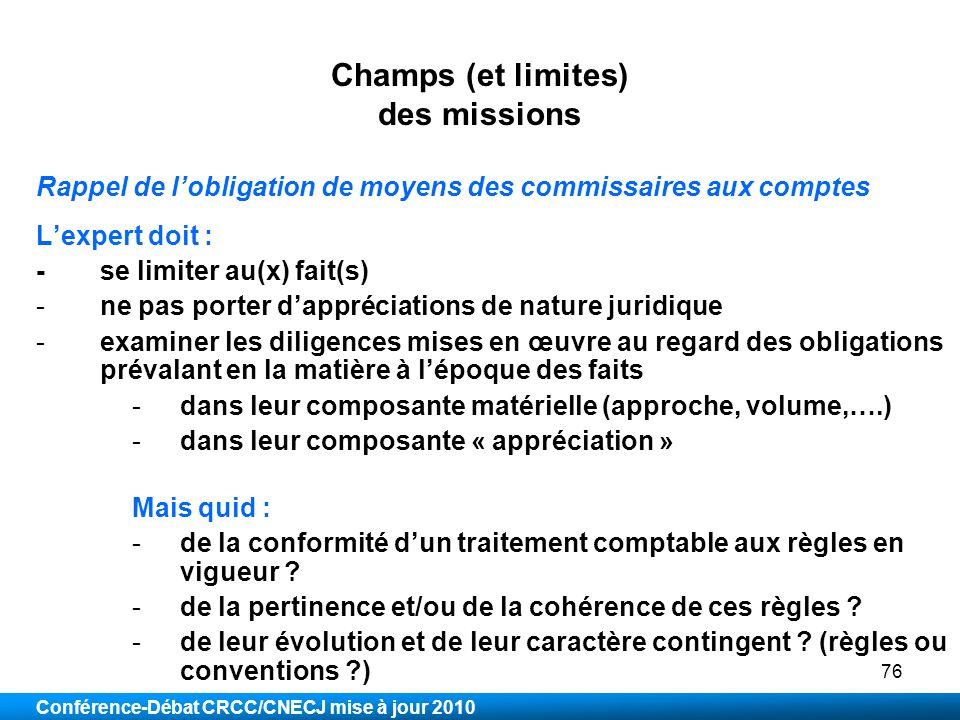 Champs (et limites) des missions