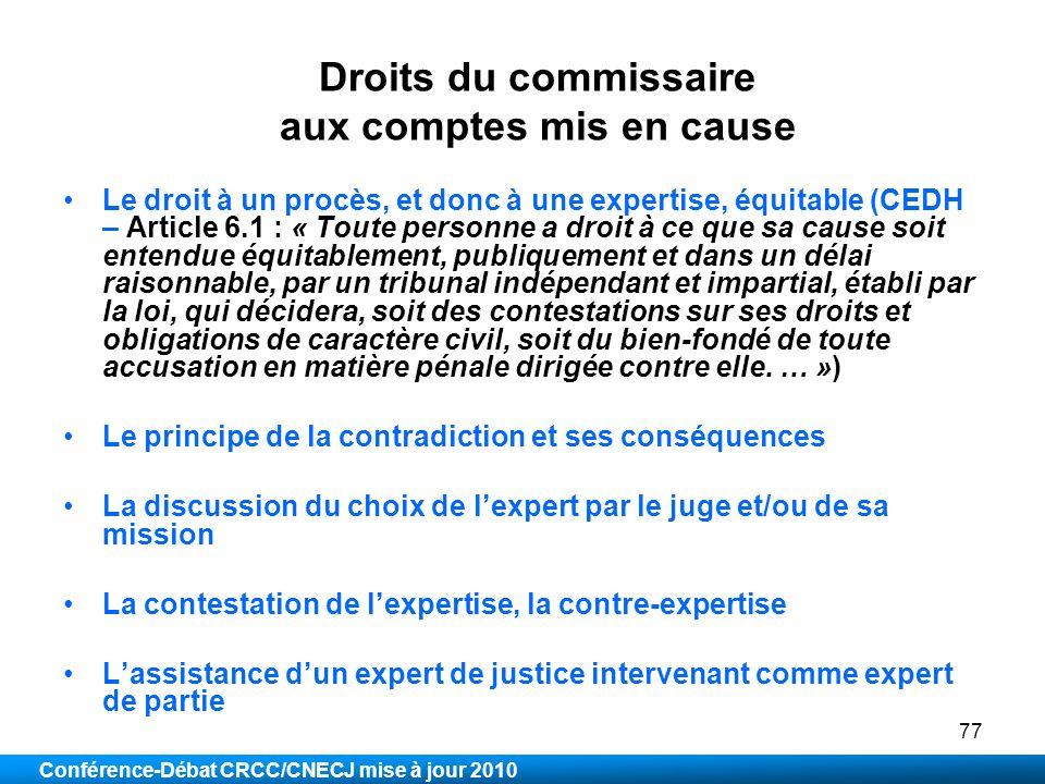 Droits du commissaire aux comptes mis en cause