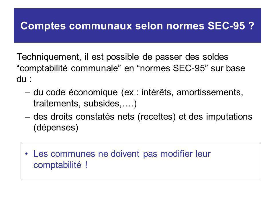 Comptes communaux selon normes SEC-95