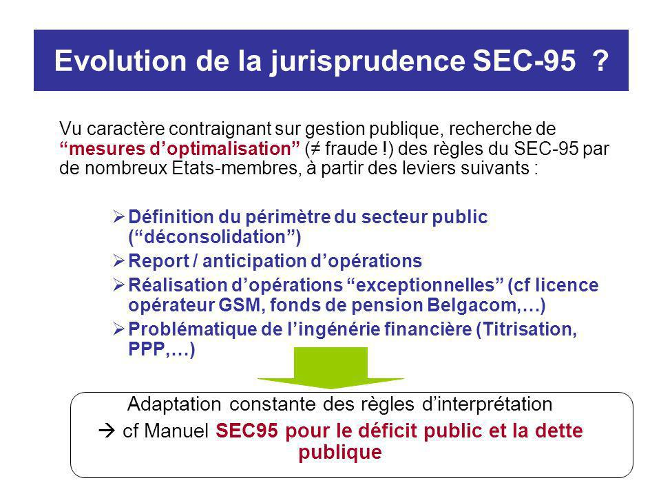 Evolution de la jurisprudence SEC-95