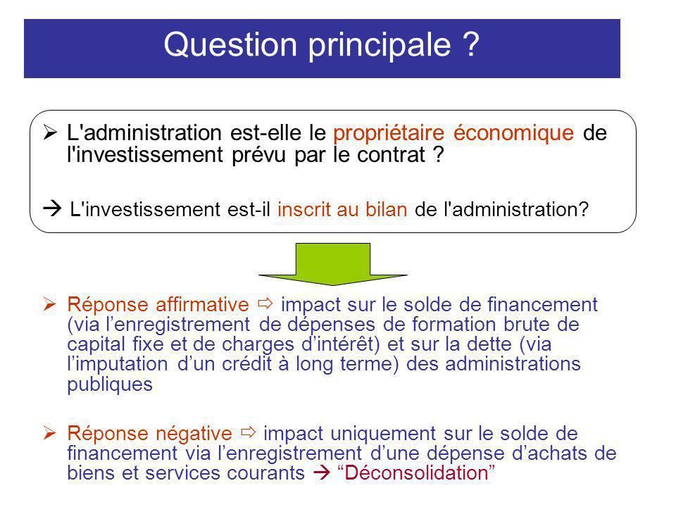 Question principale L administration est-elle le propriétaire économique de l investissement prévu par le contrat