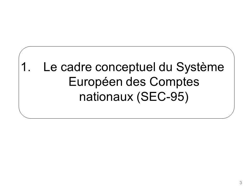 Le cadre conceptuel du Système Européen des Comptes nationaux (SEC-95)