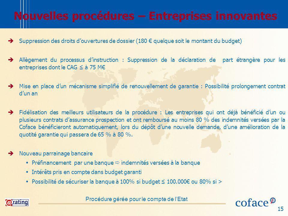 Nouvelles procédures – Entreprises innovantes