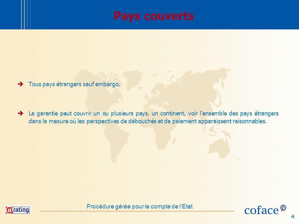 Pays couverts Tous pays étrangers sauf embargo.