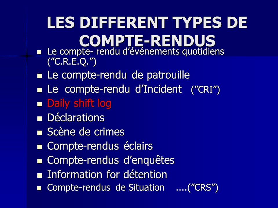 LES DIFFERENT TYPES DE COMPTE-RENDUS