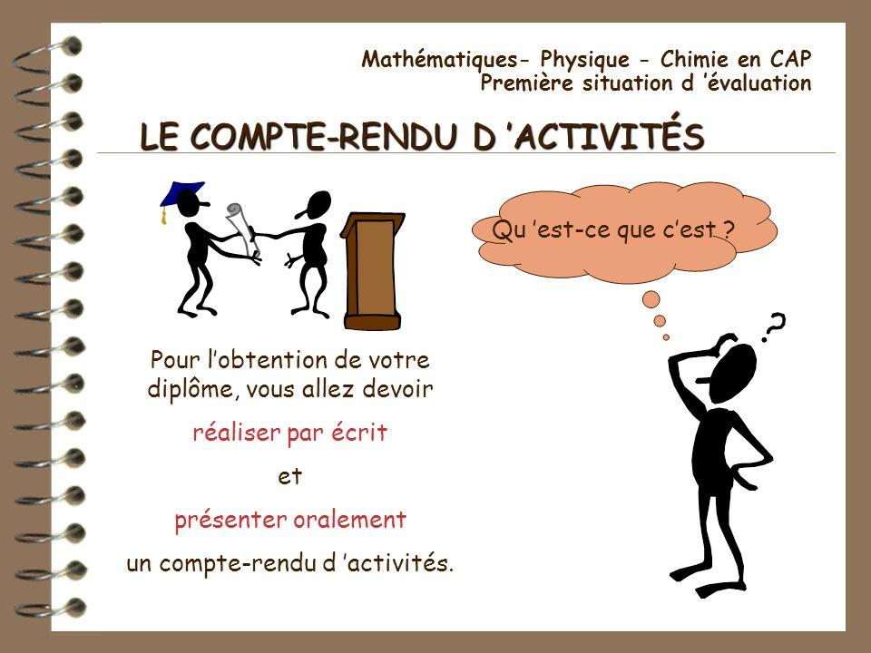LE COMPTE-RENDU D 'ACTIVITÉS