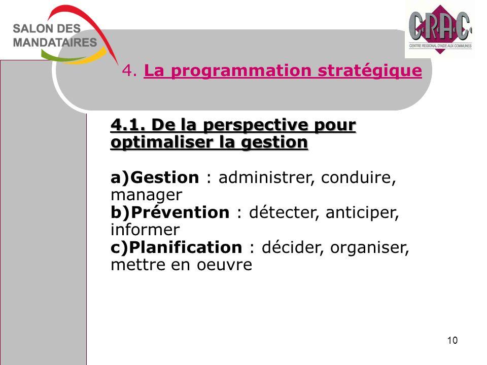 4. La programmation stratégique