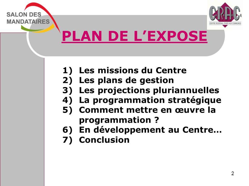 PLAN DE L'EXPOSE Les missions du Centre Les plans de gestion