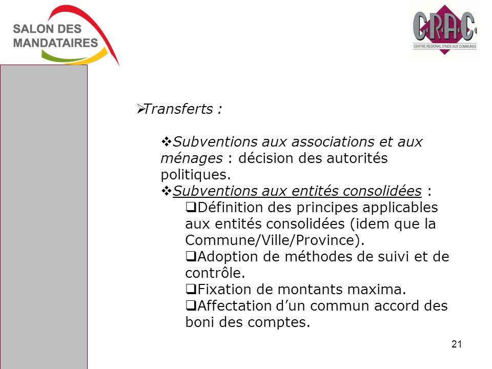 Transferts : Subventions aux associations et aux ménages : décision des autorités politiques. Subventions aux entités consolidées :