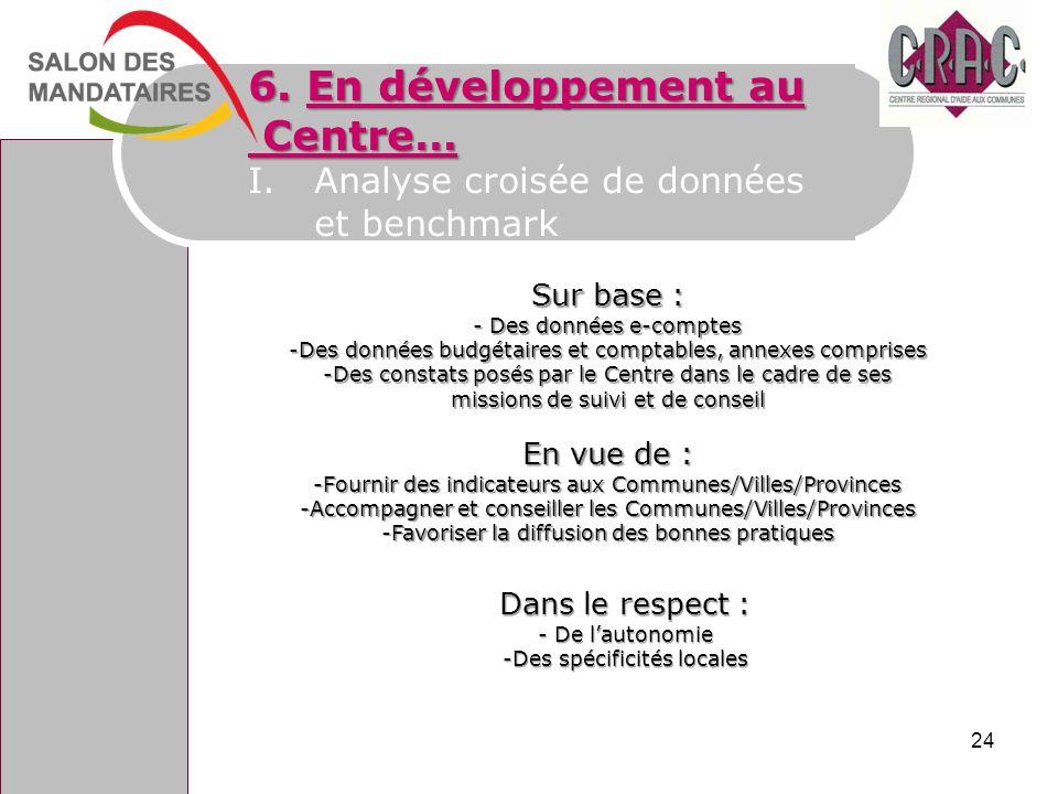 6. En développement au Centre… Analyse croisée de données et benchmark