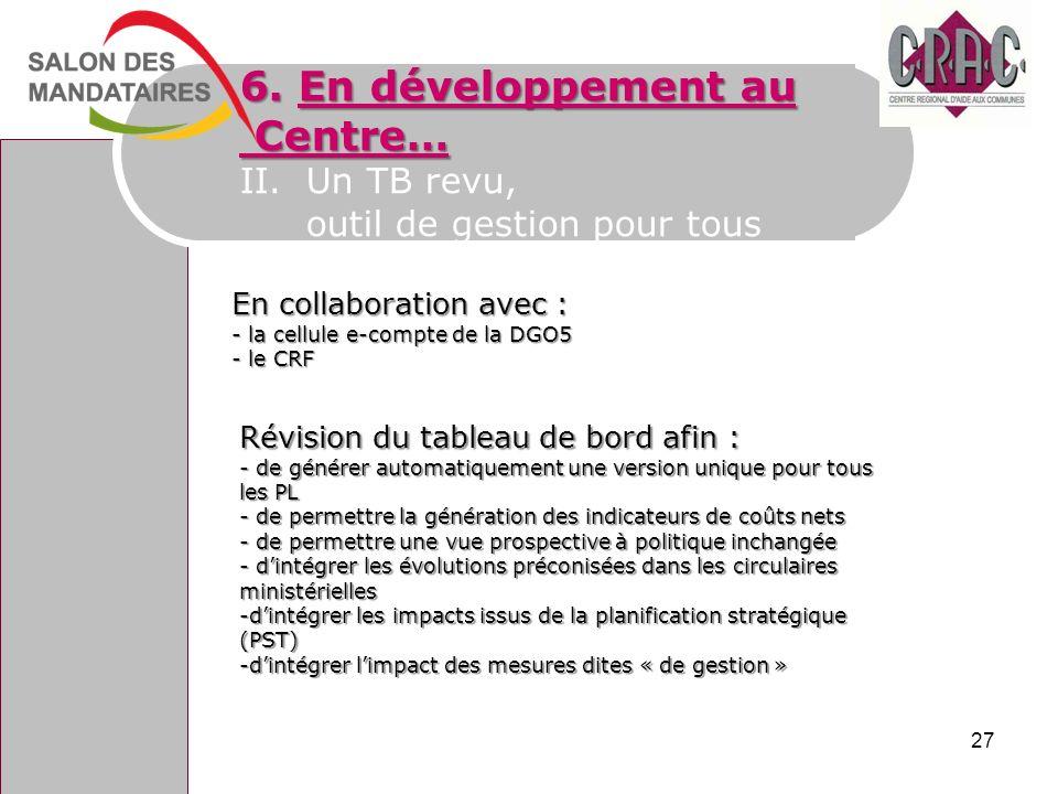 6. En développement au Centre… II. Un TB revu,