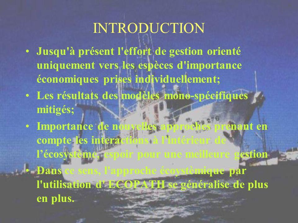 INTRODUCTION Jusqu à présent l effort de gestion orienté uniquement vers les espèces d importance économiques prises individuellement;
