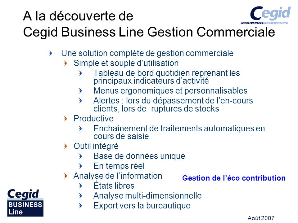A la découverte de Cegid Business Line Gestion Commerciale
