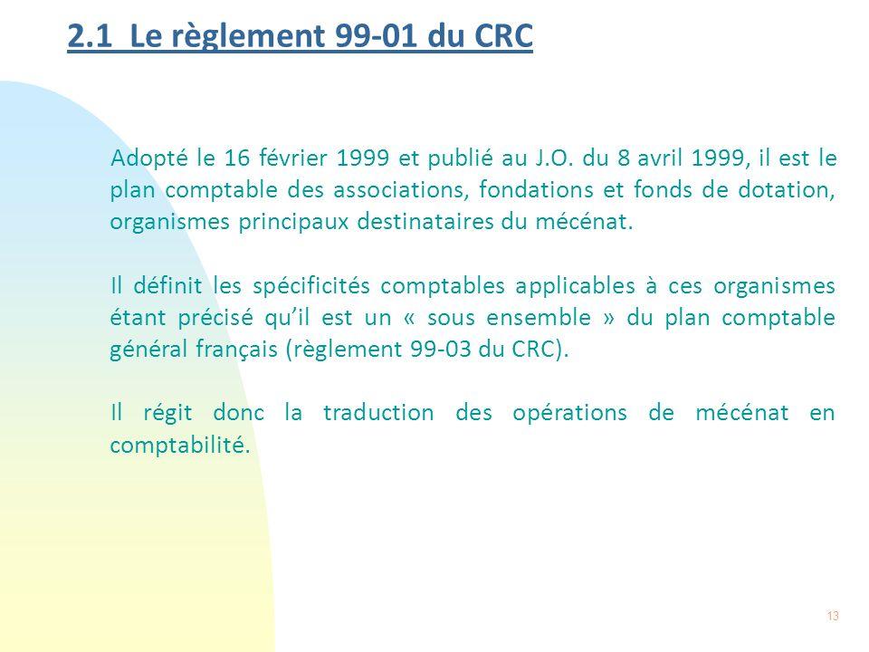 2.1 Le règlement 99-01 du CRC