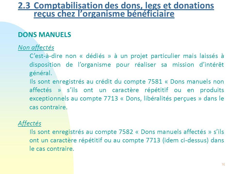 2.3 Comptabilisation des dons, legs et donations reçus chez l'organisme bénéficiaire