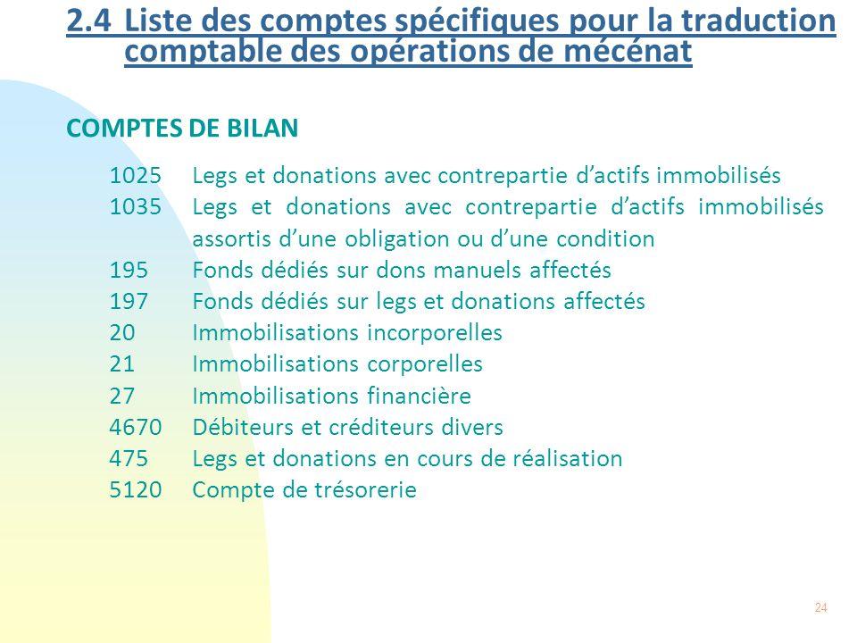 2.4 Liste des comptes spécifiques pour la traduction comptable des opérations de mécénat