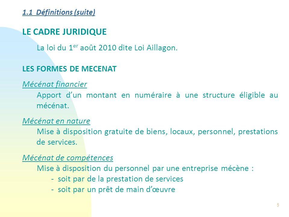 LE CADRE JURIDIQUE La loi du 1er août 2010 dite Loi Aillagon.