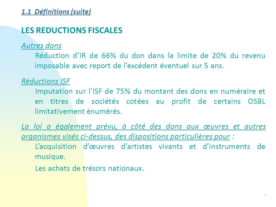 LES REDUCTIONS FISCALES