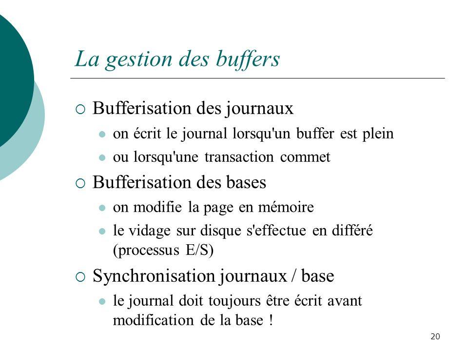 La gestion des buffers Bufferisation des journaux