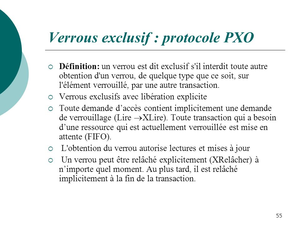 Verrous exclusif : protocole PXO