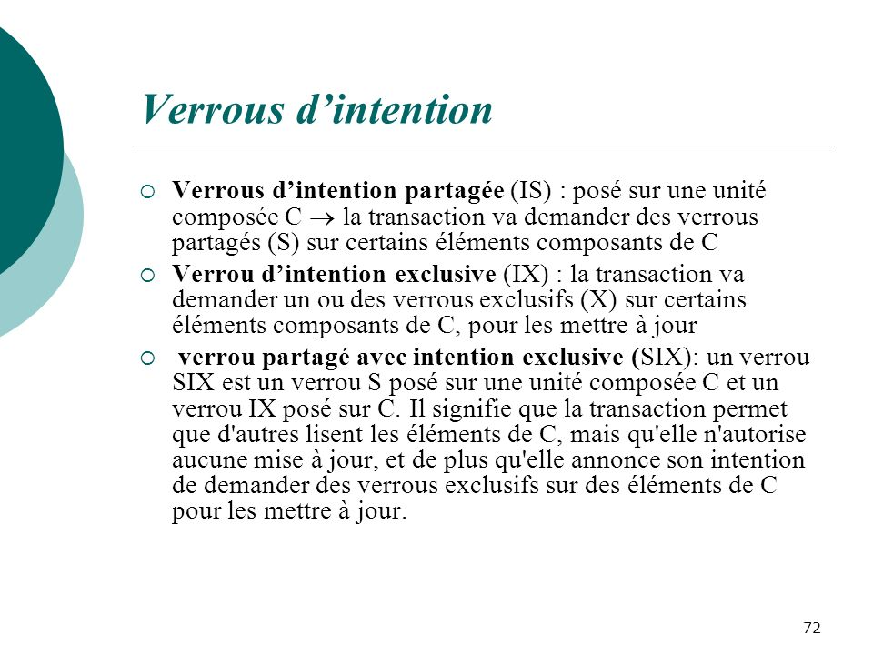 Verrous d'intention