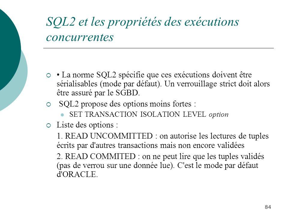 SQL2 et les propriétés des exécutions concurrentes