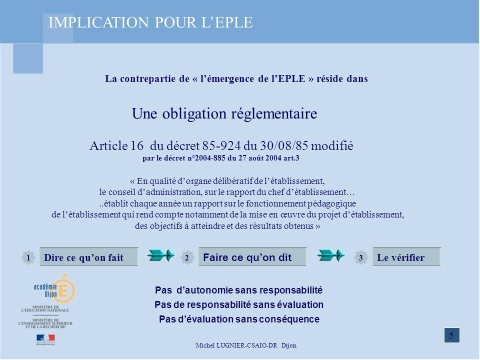 IMPLICATION POUR L'EPLE