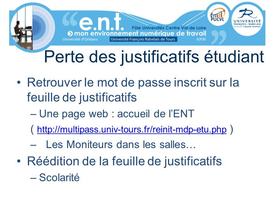 Perte des justificatifs étudiant