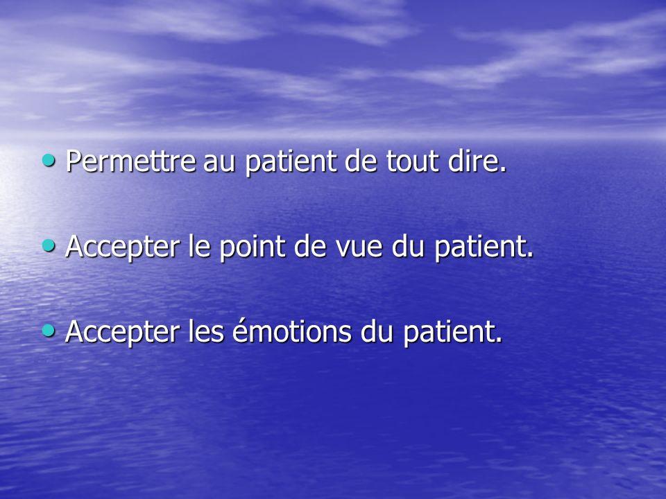 Permettre au patient de tout dire.