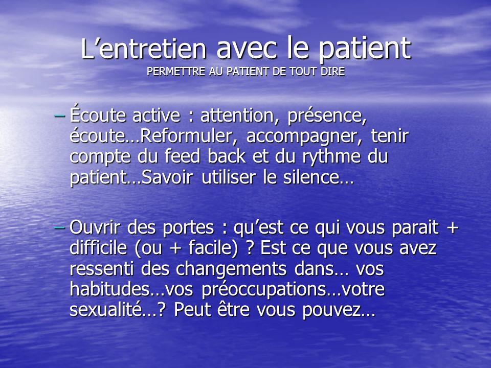L'entretien avec le patient PERMETTRE AU PATIENT DE TOUT DIRE