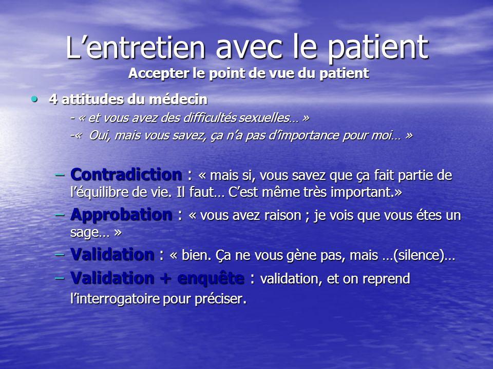 L'entretien avec le patient Accepter le point de vue du patient