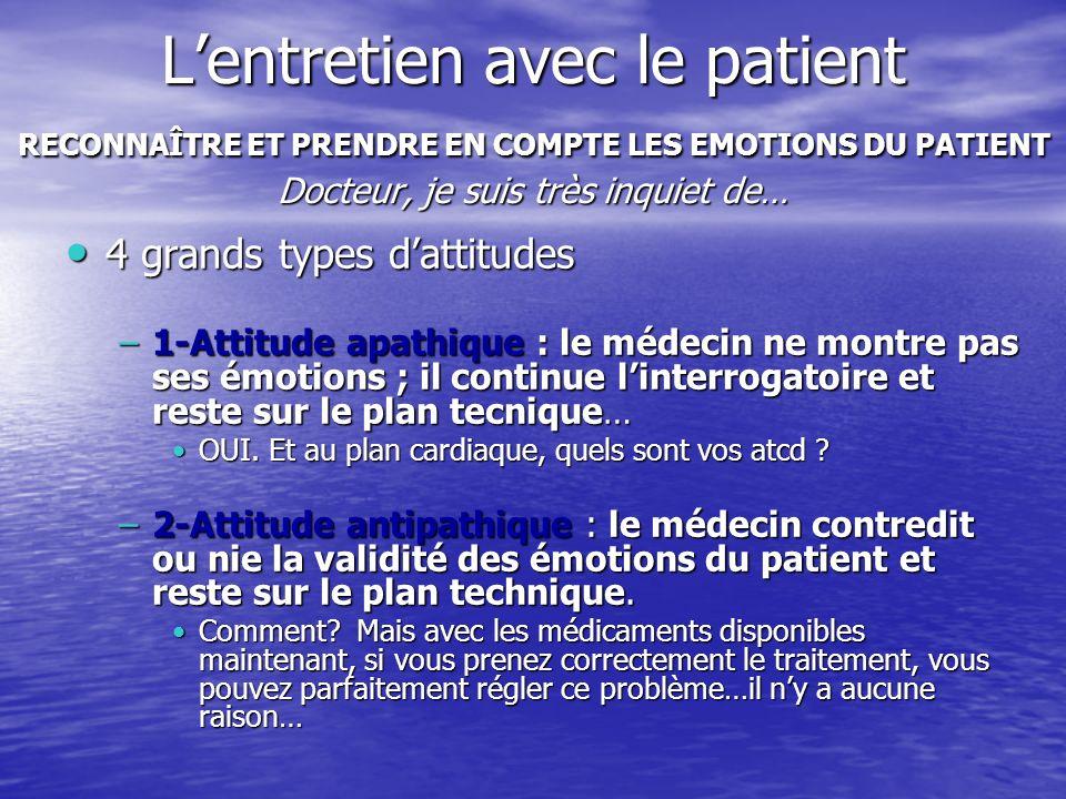 L'entretien avec le patient RECONNAÎTRE ET PRENDRE EN COMPTE LES EMOTIONS DU PATIENT Docteur, je suis très inquiet de…