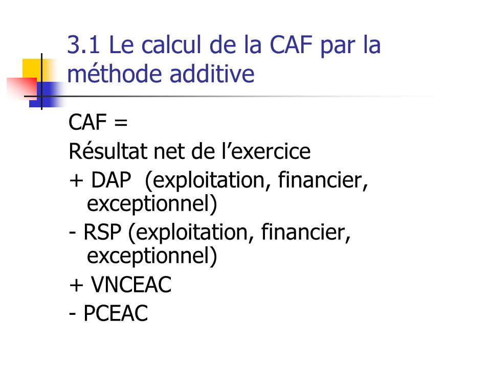 3.1 Le calcul de la CAF par la méthode additive