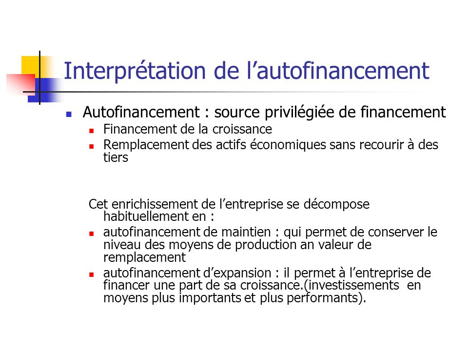 Interprétation de l'autofinancement