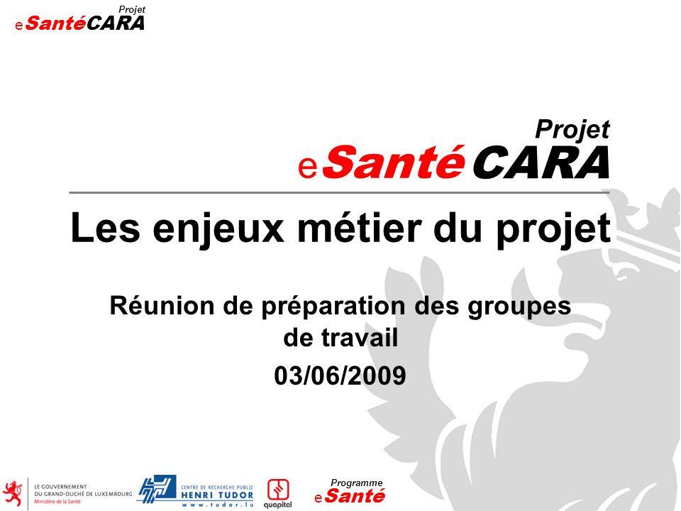 CARA Les enjeux métier du projet eSanté Projet
