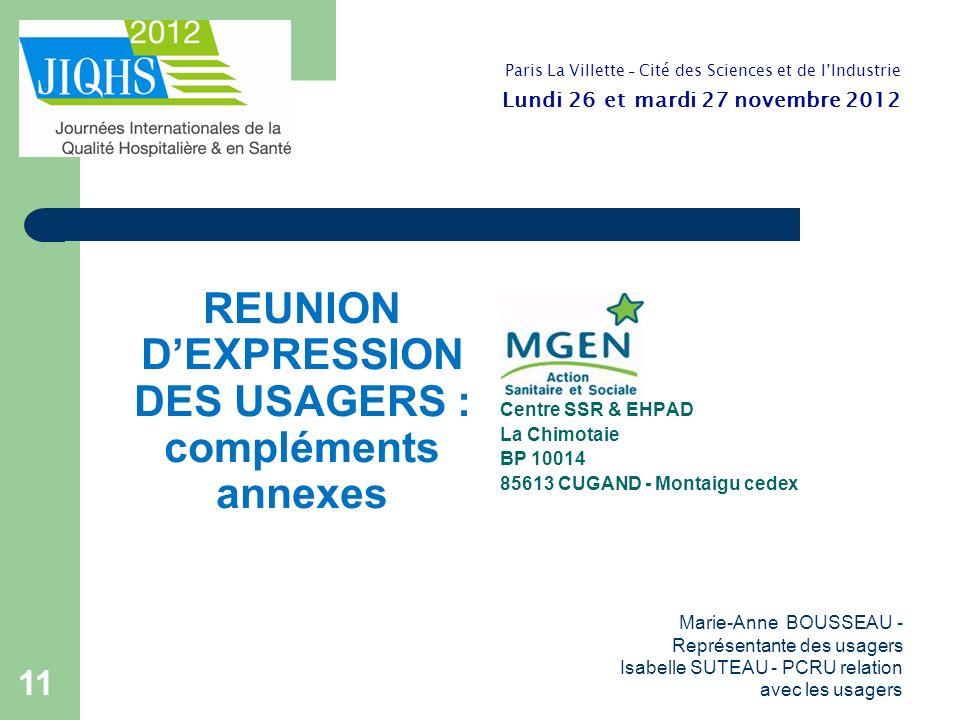 REUNION D'EXPRESSION DES USAGERS : compléments annexes