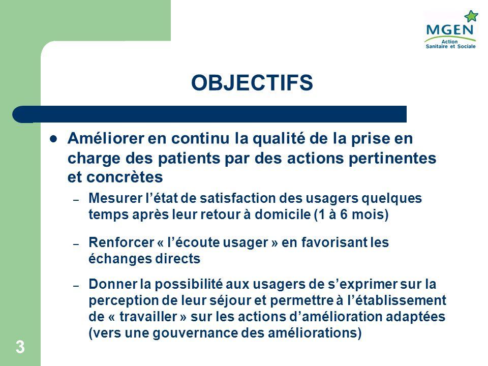 OBJECTIFS Améliorer en continu la qualité de la prise en charge des patients par des actions pertinentes et concrètes.