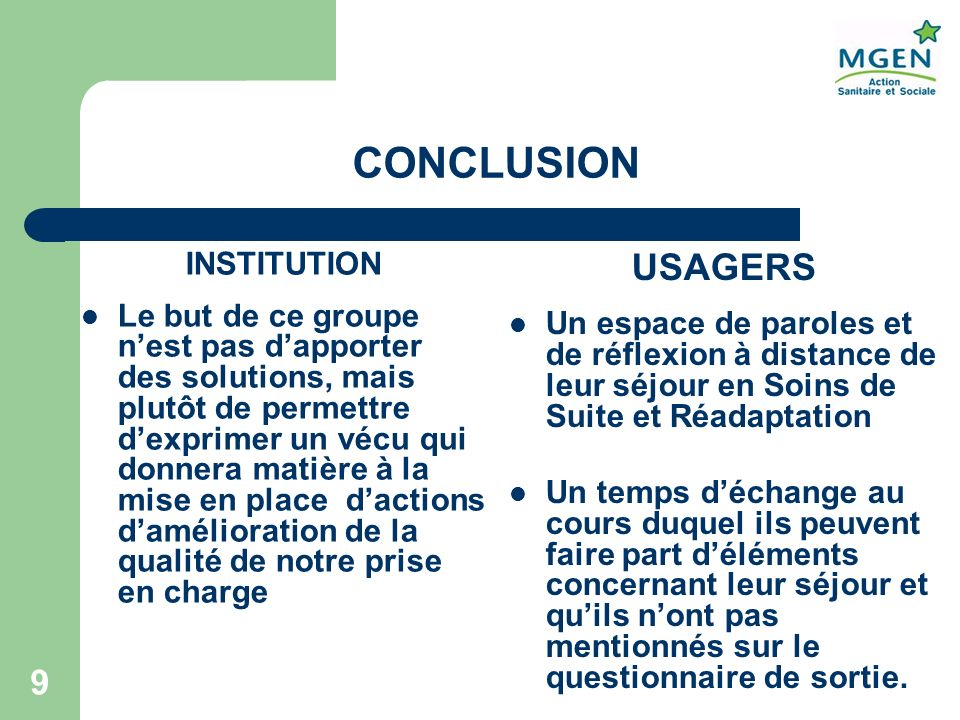 CONCLUSION USAGERS INSTITUTION