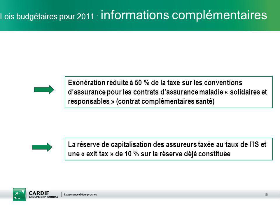 Lois budgétaires pour 2011 : informations complémentaires