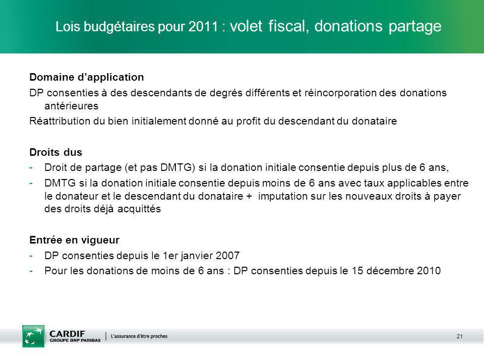 Lois budgétaires pour 2011 : volet fiscal, donations partage