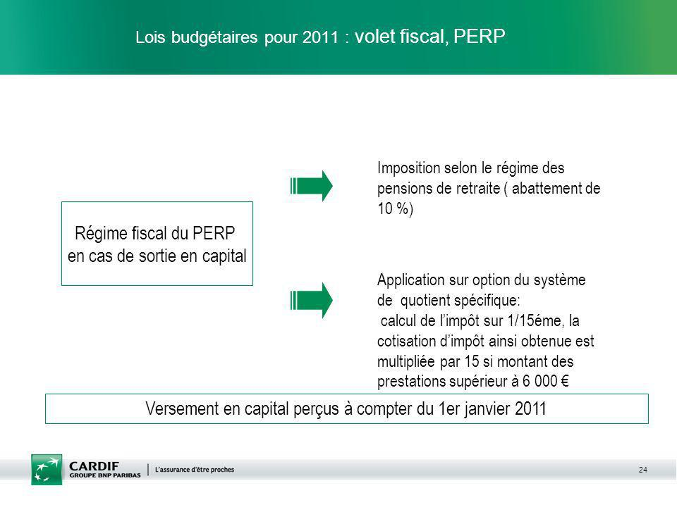 Lois budgétaires pour 2011 : volet fiscal, PERP