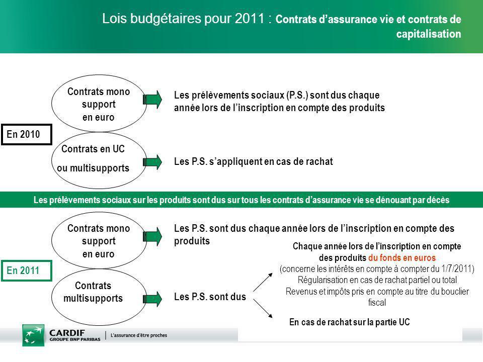 Lois budgétaires pour 2011 : Contrats d'assurance vie et contrats de capitalisation