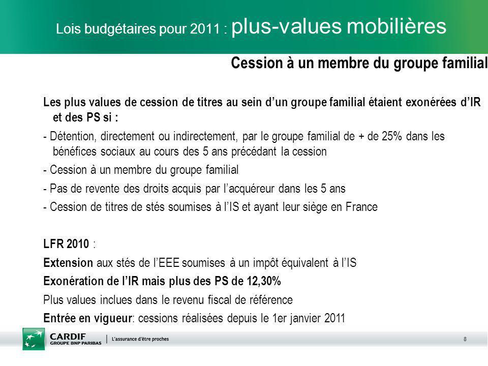 Lois budgétaires pour 2011 : plus-values mobilières