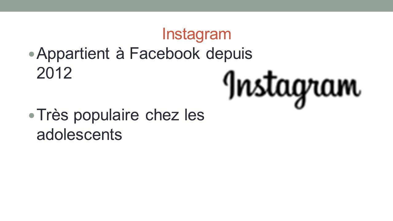 Instagram Appartient à Facebook depuis 2012 Très populaire chez les adolescents
