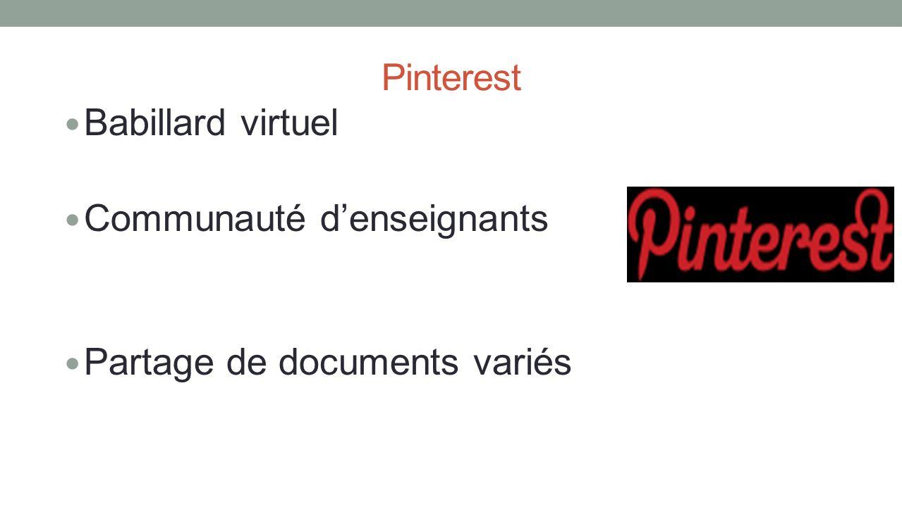 Pinterest Babillard virtuel Communauté d'enseignants Partage de documents variés