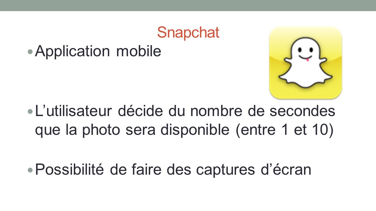 Snapchat Application mobile. L'utilisateur décide du nombre de secondes que la photo sera disponible (entre 1 et 10)