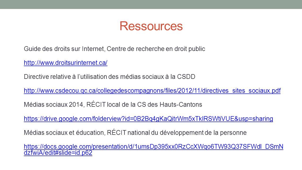 Ressources Guide des droits sur Internet, Centre de recherche en droit public. http://www.droitsurinternet.ca/