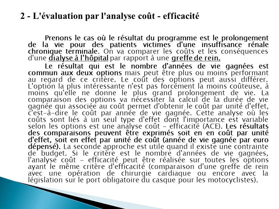 2 - L évaluation par l analyse coût - efficacité