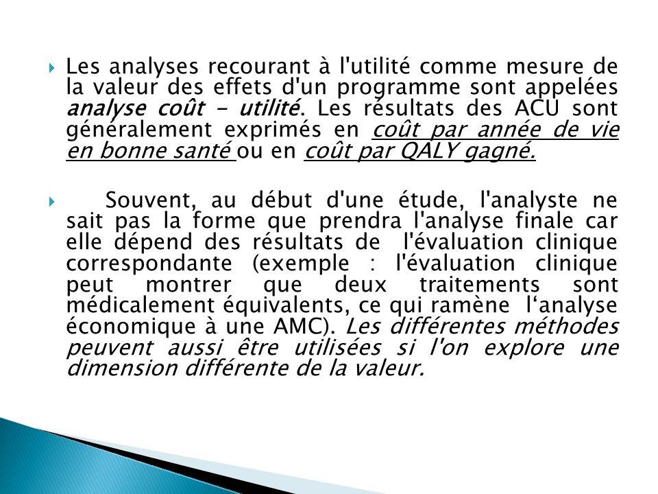 Les analyses recourant à l utilité comme mesure de la valeur des effets d un programme sont appelées analyse coût - utilité. Les résultats des ACU sont généralement exprimés en coût par année de vie en bonne santé ou en coût par QALY gagné.