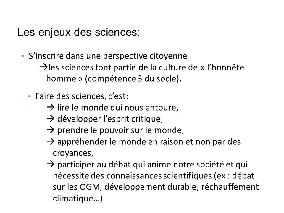 Les enjeux des sciences: